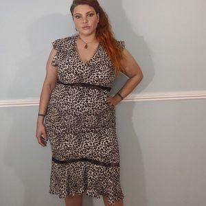 Leopard print Hi-Lo midi dress XXL plus size 16/18
